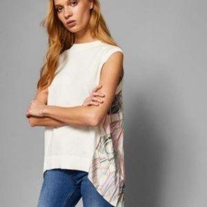 Ted Baker Size 10 Silk Sleeveless Pleated Boho Top